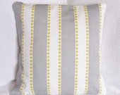 30% OFF!! Striped White Gray Yellow Polka Dot Pillow Cover 16x16 Lulu Storm Designer Fabric