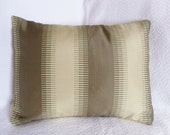 CLEARANCE: Wide Stripe Gold, Brown, Tan Jacquard Pillow Cover 12x16
