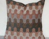 Rust and Gray Geometric Velour 18 inch Decorative Pillows Accent Pillows Throw Pillow Cushion Cover