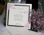 Square wedding invitation, brown and pink, custom colors, custom sample, wedding invitation
