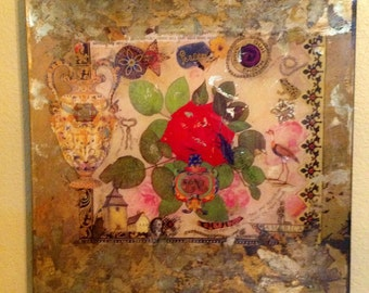 16in square decoupage plate by laurel wilder