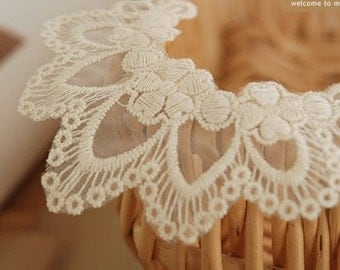 2 Pcs Lace Fabric Doily Trim Lace Fabric Trim Embroidery Lace Gauze Neckties