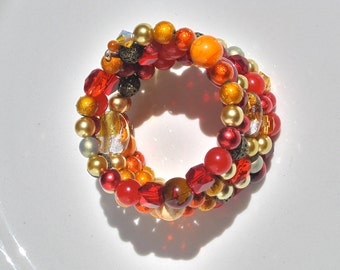 """Oranges And Reds Multistrand Bracelet, Preppy Style , Midcentury Modern Style, """" The Harvest Is Plentiful"""""""