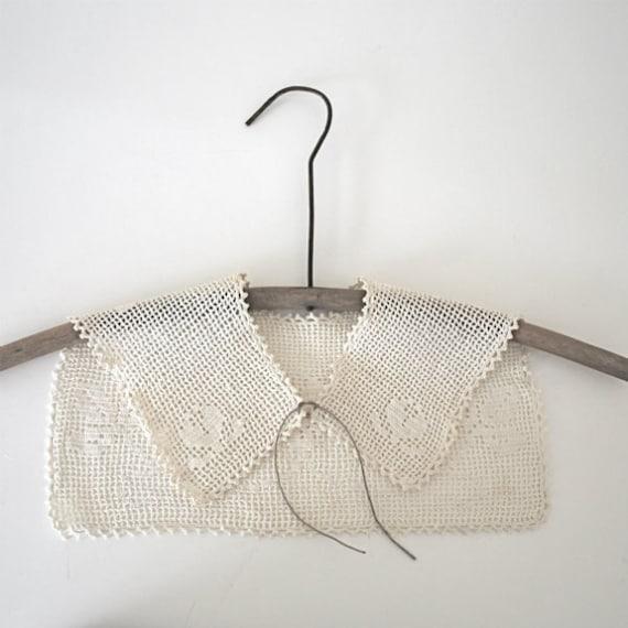 Vintage Collar Filet Crochet Yoke White Flower Sewing Dressmaking Supply