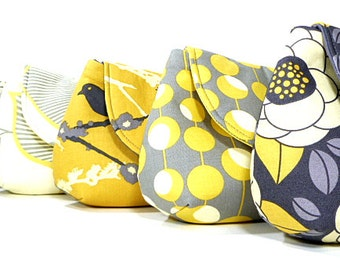 Gray Yellow Bridesmaids Clutches Choose Your Fabric Set of 8