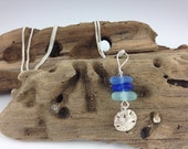 Triple Ocean Blues Stacked Sea Glass Sand Dollar Sterling Silver Charm Necklace