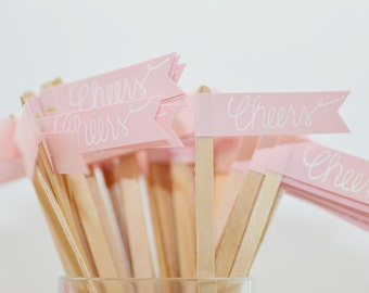 25 Blush Pink Drink Stirrer Sticks with Calligraphy Cheers - cocktail length