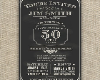 21st, 30th, 40th, 50th, 60th Surprise Birthday Party Invitation - chalkboard style - any age - printed or DIY