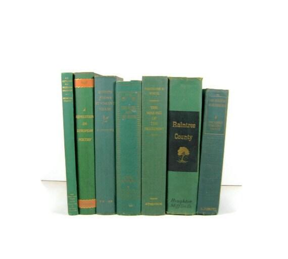 Vintage Green Decorative Books , Photo Props , Vintage Wedding Decor