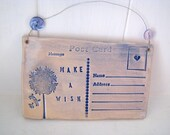 Make a Wish - Ceramic postcard with vintage buttons. Dandelion. Made in Wales, UK.  Ready to Ship.