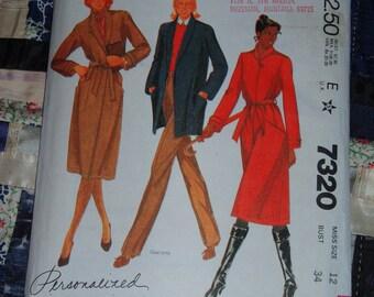"Vintage 1980 McCalls Pattern 7320 for Misses Coat or Jacket and Belt Size 12, Bust 34""  Uncut, Factory Folds"