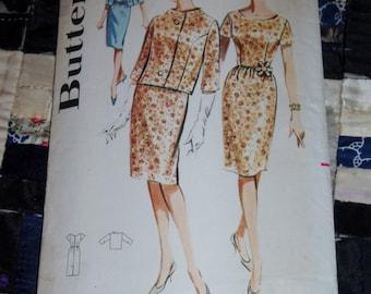 "Vintage 1960s Butterick Dress and Jacket Pattern 9970 Sz 14, Bust 34"", Waist 26"", Hip 36"""