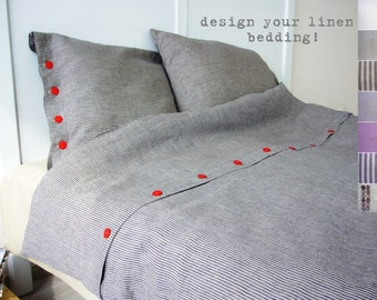 Linen bedding -King- bespoke linens, linen bed set, luxury Belgian linen, Eco linen, custom made linens,