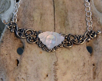 Handmade Goddess Necklace In Silver Plate
