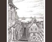 Black and White fantasy landscape illustration of another port city