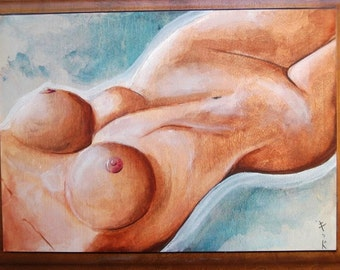 "SALE 18"" x 15"" Original Painting-Female Form (""Samantha"")"