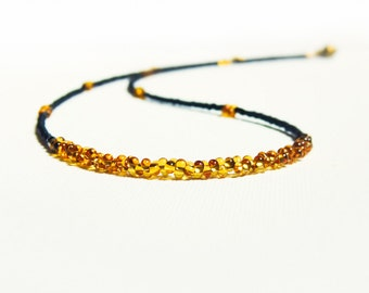 Minimalist chic Black golden topaz beaded strand necklace. Bohemian  fashion jewelry. Mothers Day