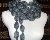 Hand Crochet Puff Stitch Neck Ware Lariat Necklace in Charcole Grey