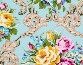 Maggie in Blue, Circa, Floral Fabric, Jennifer Paganelli, Floral, Shabby Chic, Modern Cotton Quilt Fabric, One Yard