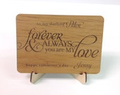 Forever and Always Custom Wooden Valentine with Display Easel