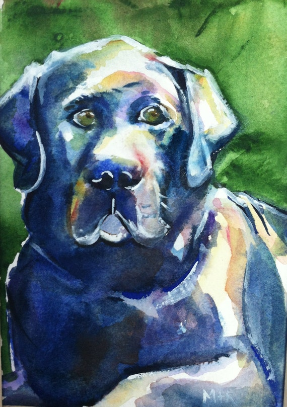 Black Lab Watercolor Painting