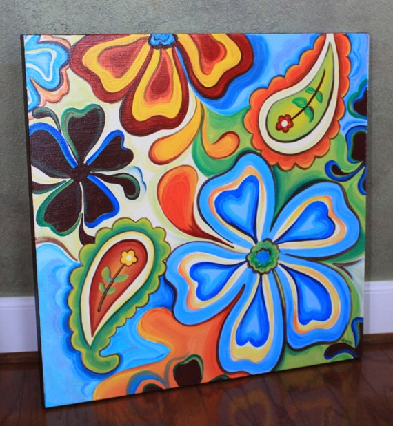 Items similar to Floral Paisley Gallery Wrapped Canvas ...