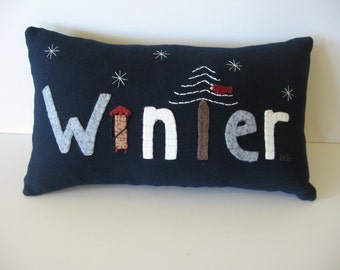 WINTER Wool Applique Pillow Original Design of JKB