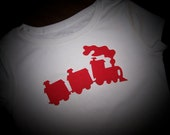 """Train Engine and Cars 7"""" Wide in Blue, Black, Red or Green, Choose at Checkout - Iron On Applique"""