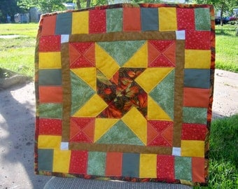 Handmade Quilted Table Topper with Fall Colors