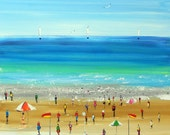 Original Painting- Art on canvas - australian beach - beach painting - sydney painting-colourful painting - modern painting - big painting