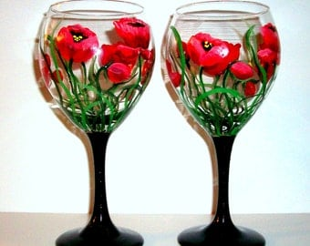 Handpainted Wine Glasses  Red Poppies Set of 2 / 20 oz. Wine Glasses Hand Painted Red Poppies