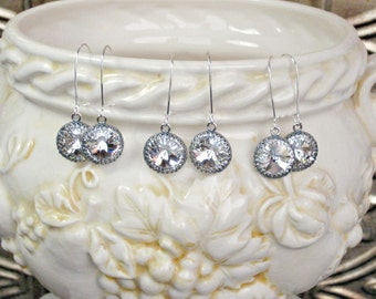 Earrings THREE SETS for Bridal Party, Antique Silver with Swarovski Crystal on Kidney Shaped Wires, Bridesmaid Gifts