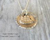Wax Seal Ship Necklace in Bronze