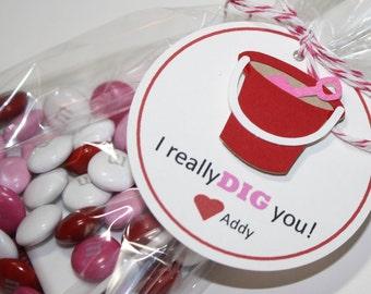 I Dig You Valentine / Kid Valentine's / Valentine's day kits, DIY / Custom treat kits / set of 20
