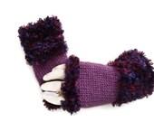Womens Purple fingerless Gloves, Knit fingerless Gloves, Fingerless Mittens