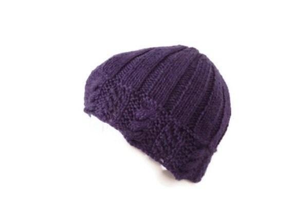 womens wool hat cable knit hat purple grape beanie womens