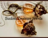 Czech Glass Amber Crystal Leaf and Flower Earrings