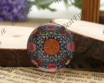 The 12mm,14mm,16mm,18mm,20mm,25mm Round Glass Cabochons China flower,jewelry Cabochons finding beads,Glass Cabochons,blue-and-white--06
