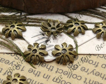 50 pcs of Antique brass metal flower bead cups 10mm,bead caps findings,beads