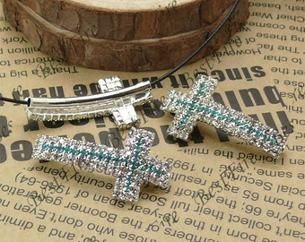2pcs of 19x36mm silver tone Sideways Cross Rhinestone Connector,Cross Bracelet Connector,bangle findings