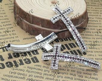 2pcs of 24x53mm Silver tone Sideways Cross Rhinestone Connector,Cross Bracelet Connector,bangle findings