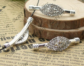 2pcs of 14x47mm Silver tone eyes Rhinestone Connector,  Bracelet Connector,bangle findings