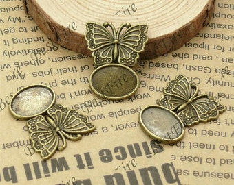 10 PCS 10x14MM Antique Bronze oval Pad  Perfect butterfly Charm Pendant Base