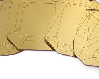 Mirror Gold Coffee Table Coasters - Laser Cut Acrylic Set of Four Geometric Gems