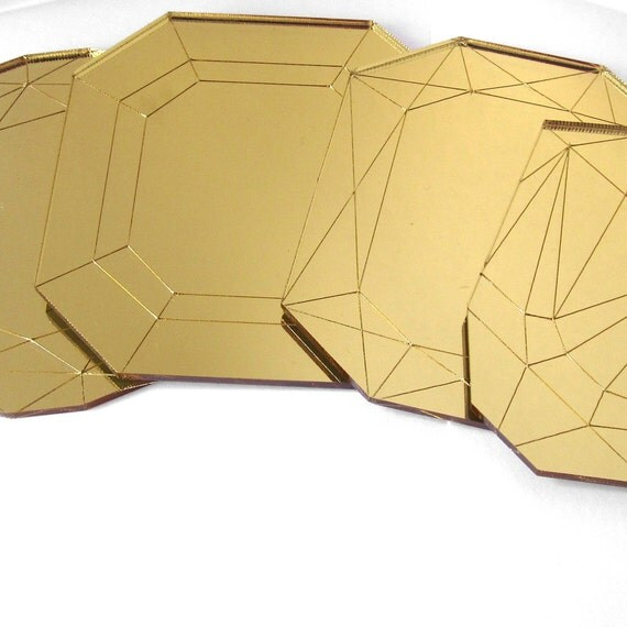 Mirror Gold Coffee Table Coasters - Laser Cut Acrylic Set of Four Geometric Gems