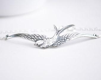 Silver Bird Bracelet. Sterling Silver Chain. Swallow Sparrow Bracelet.
