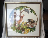 nature crewel work framed with deer bunnies owl and flowers