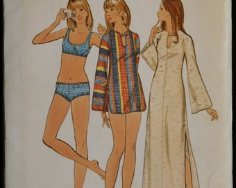 Butterick 6675 Jr Misses Bathing Suit and Cover Up or Tunic Vintage 70s Sewing Pattern Sz 11/12
