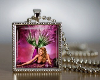 Glass Tile Necklace Mermaid Jewelry Pink Jewlery Glass Tile Jewelry Silver Jewelry Pink Necklace