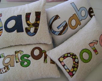 Customized Personalized Name Pillow with Appliqued Word and Fabric Letters with Chenille
